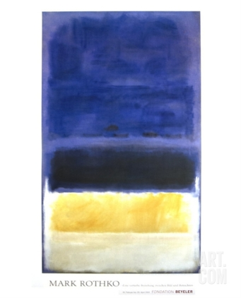 ART.com- Untitled (Blue, Dark Blue, Yellow) Art Print
